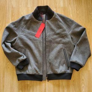 HUGO BOSS bomber jacket in virgin-wool flannel